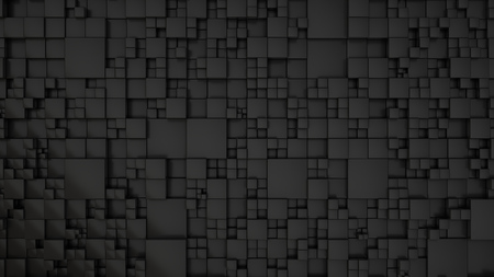Pattern from black cubes of different sizes. Abstract geometrical 3d background. 3D render illustration