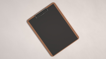 Wooden clipboard with black paper isolated on white background. Blank paper mockup. 3D rendering illustration.