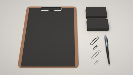 Clipboard with black sheet of paper, business cards, paper clips and automatic ballpoint pen on white background. Branding mockup. 3D rendering illustration.