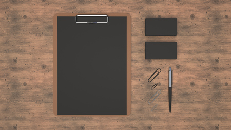 Clipboard with black sheet of paper, business cards, paper clips and automatic ballpoint pen on wooden table. Branding mockup. 3D rendering illustration.
