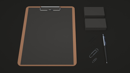 Clipboard with black sheet of paper, business cards, paper clips and automatic ballpoint pen on black background. Branding mockup. 3D rendering illustration.