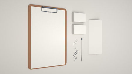 Clipboard with white sheet of paper, business cards, trifold leaflet, paper clips and automatic ballpoint pen on white background. Branding mockup. 3D rendering illustration.