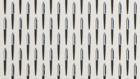 Pattern from black automatic ballpoint pens on white background. Abstract stationery background. 3D rendering illustration. Stockfoto