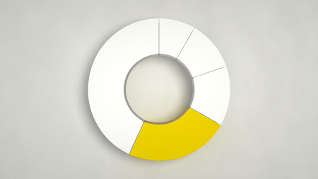 White ring pie chart with one yellow sector on white background. Infographic mockup. 3D render illustration Фото со стока