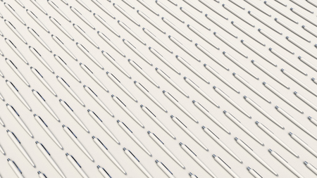 Pattern from white automatic ballpoint pens on white background. Abstract stationery background. 3D rendering illustration.