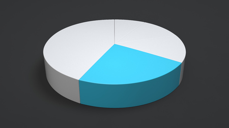White pie chart with one blue sector on black background. Infographic mockup. 3D render illustration