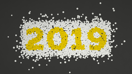 2019 number made from white and yellow confetti on black background. 2019 new year sign. 3D rendering illustration