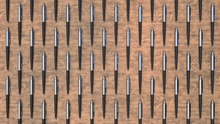 Pattern from black automatic ballpoint pens on wooden table. Abstract stationery background. 3D rendering illustration.