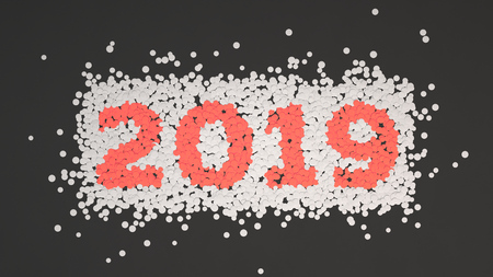 2019 number made from white and red confetti on black background. 2019 new year sign. 3D rendering illustration Stok Fotoğraf - 113721713