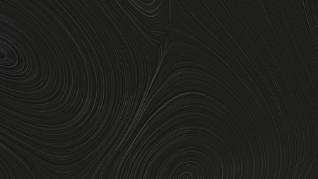 Smooth curles from black strings on black background. Abstract geometrical  background. 3D rendering illustration. Stock Photo
