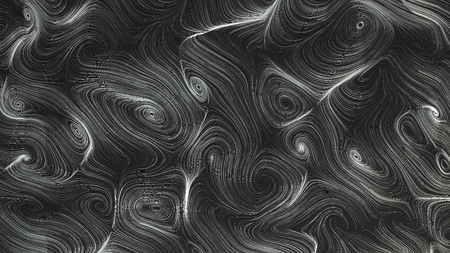 Smooth curles from metal strings on black background. Abstract geometrical  background. 3D rendering illustration. Reklamní fotografie - 115203388