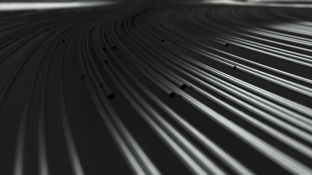 Smooth curles from metal strings on black background. Abstract geometrical  background. 3D rendering illustration.