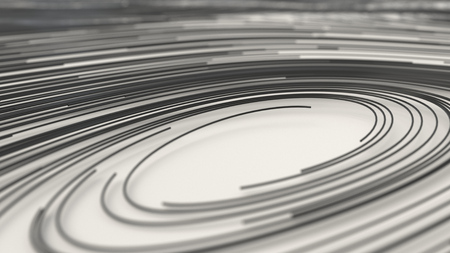 Smooth curles from black strings on white background. Abstract geometrical  background. 3D rendering illustration.