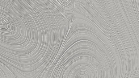 Smooth curles from white strings on white background. Abstract geometrical  background. 3D rendering illustration.