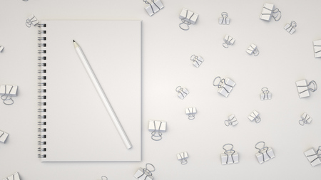 Branding mockup. Notebook with pencil and binder clips. 3D rendering illustration.