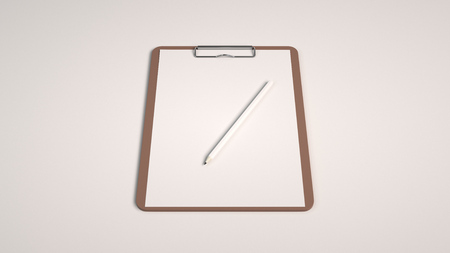 Branding mockup. Clipboard with sheet of paper and pencil. 3D rendering illustration.