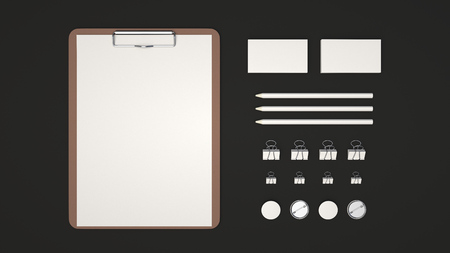 Branding mockup. Clipboard with sheet of paper, business cards, binder clips, badges and pencils. 3D rendering illustration.