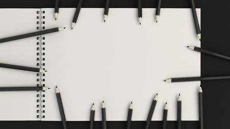 Drawing album with black pencils on black background. Spiral bound notebook mockup. 3D rendering illustration. Banco de Imagens