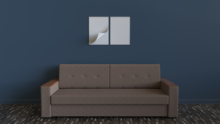 Two blank white spiral calendars hanging on the wall above simple sofa. Interior mockup. 3D rendering illustration.
