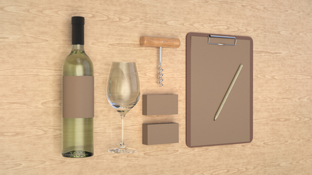 Wine or sommelier branding template. Mockup of bottle of wine, glass, white business cards, clipboard with pencil and corkscrew on wooden background. 3D rendering illustration.