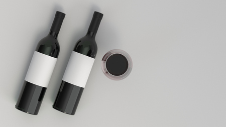 Wine branding template. Mockup of two bottles of red wine with glass on white background. 3D rendering illustration.