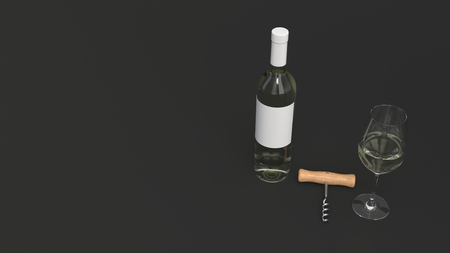 Wine branding template. Mockup of bottle of white wine with glass and corkscrew on black background. 3D rendering illustration.