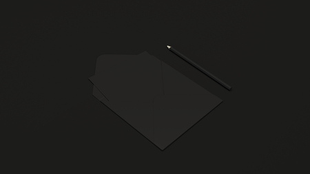 Mockup of greeting card in square envelope with pencil on black background. Letter or postcard template. 3D rendering illustration