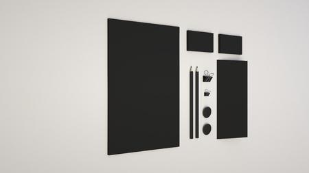 Branding mockup. Sheet of paper, business cards, binder clips, badges and pencils. 3D rendering illustration.