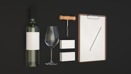 Wine or sommelier branding template. Mockup of bottle of wine, glass, white business cards, clipboard with pencil and corkscrew on black background. 3D rendering illustration. Banco de Imagens