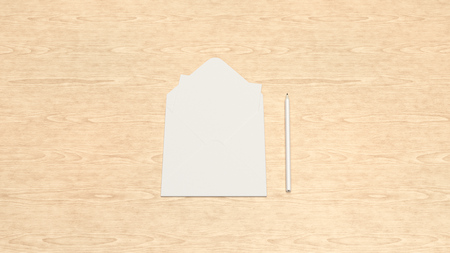 Mockup of greeting card in square envelope with pencil on wooden background. Letter or postcard template. 3D rendering illustration