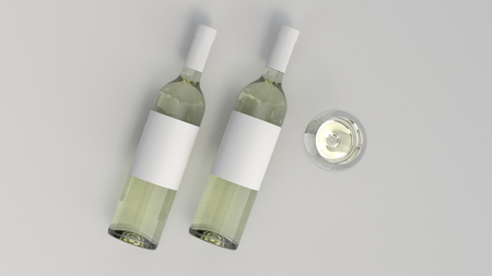 Wine branding template. Mockup of two bottles of white wine with glass on white background. 3D rendering illustration.