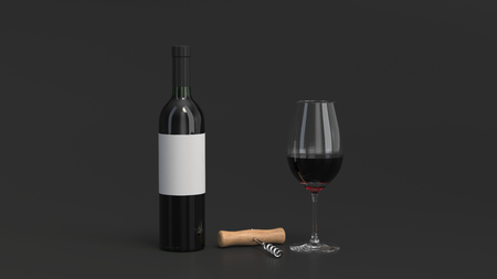 Wine branding template. Mockup of bottle of red wine with glass and corkscrew on black background. 3D rendering illustration.