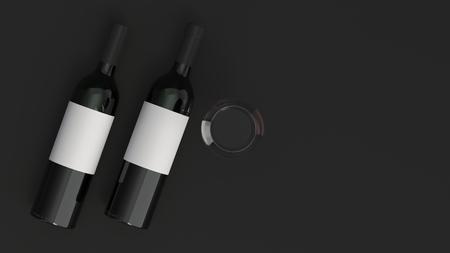 Wine branding template. Mockup of two bottles of red wine with glass on black background. 3D rendering illustration. Banco de Imagens