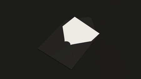 Mockup of greeting card in square envelope on black background. Letter or postcard template. 3D rendering illustration
