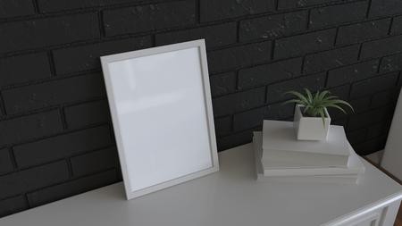Mockup of poster or photo frame  on dressing table. 3D rendering illustration. Banco de Imagens