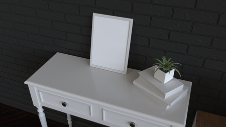 Mockup of poster or photo frame on dressing table. 3D rendering illustration.