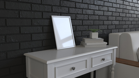 Mockup of poster or photo frame in the interior. Photo frame on dressing table beside sofa. 3D rendering illustration.
