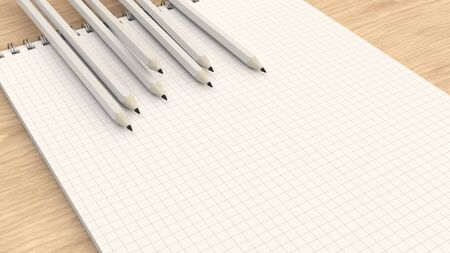 Checkered notebook with white pencils on wooden background. Spiral bound notebook mockup. 3D rendering illustration.