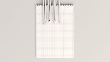 Checkered notebook with white pencils on white background. Spiral bound notebook mockup. 3D rendering illustration.