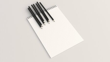 Checkered notebook with black pencils on white background. Spiral bound notebook mockup. 3D rendering illustration. Archivio Fotografico