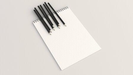 Checkered notebook with black pencils on white background. Spiral bound notebook mockup. 3D rendering illustration. Foto de archivo