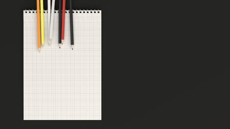 Checkered notebook with colorful pencils on black background. Spiral bound notebook mockup. 3D rendering illustration.