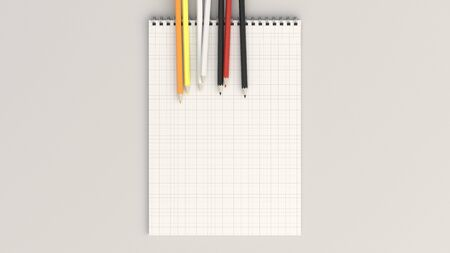 Checkered notebook with colorful pencils on white background. Spiral bound notebook mockup. 3D rendering illustration. 版權商用圖片