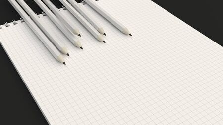 Checkered notebook with white pencils on black background. Spiral bound notebook mockup. 3D rendering illustration. 版權商用圖片