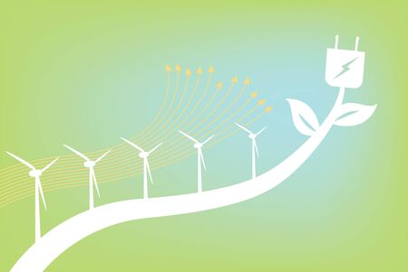 Growing Energy, Wind passing through wind turbines Stock Vector - 8945921