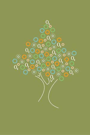 producing: Tree producing oxygen Illustration