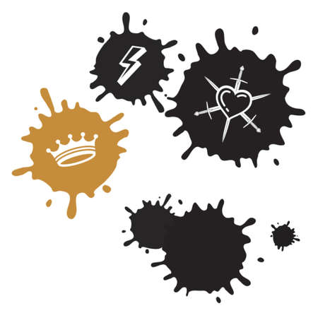 heart and crown: Blots And Emblems Illustration
