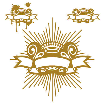 golden crown: Crown And Scroll Illustration