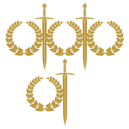 sword silhouette: Garland And Sword Illustration