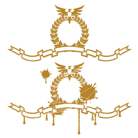 heraldic eagle: Garland With Eagle Illustration